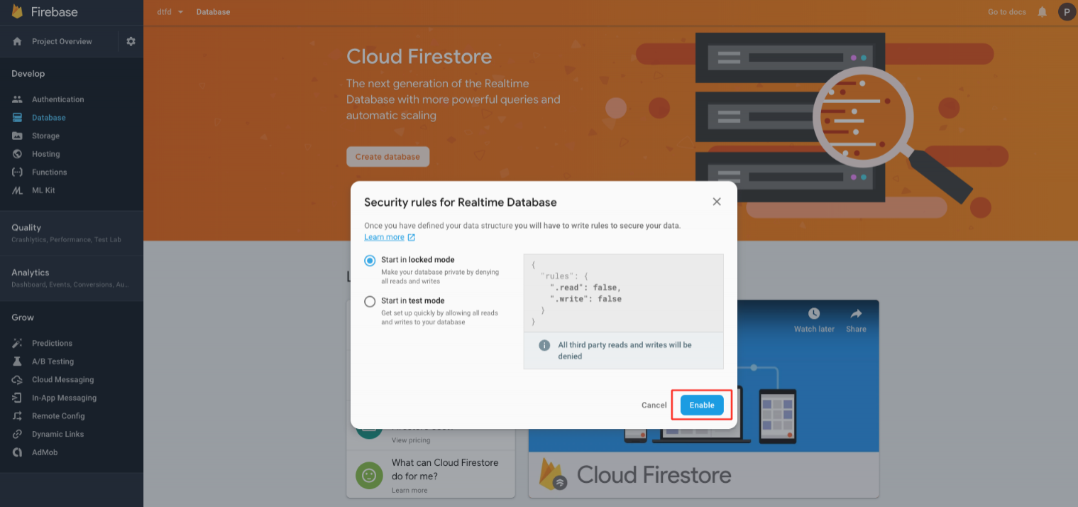 How to Obtain Your Firebase (Data) Url and Secret Key