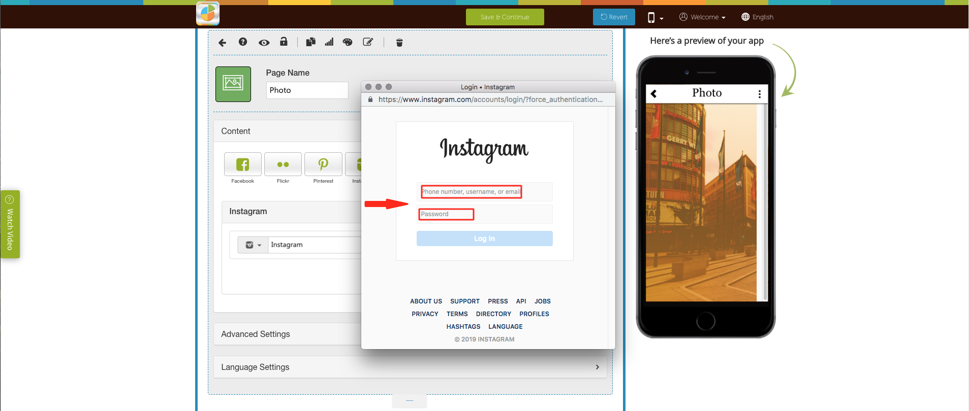 How Can I add My Instagram Profile to My App