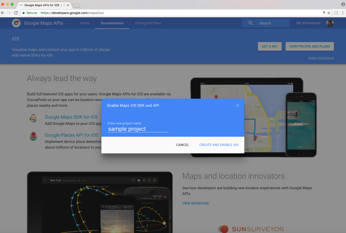 how to get api key from google