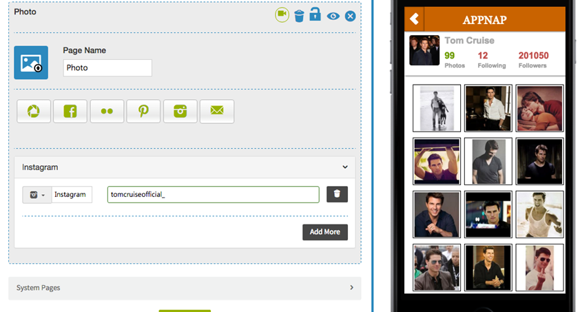 Comment puis-je ajouter mon profil Instragram à mon application?