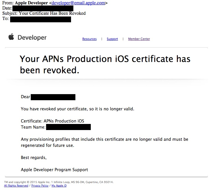 Why Apple Send Me Certificate Revoked Notice Your Apn Production